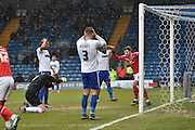 Bury Goalkeeper, Ian Lawlor punches the ground after Bury Defender, Chris Hussey own goal during the Sky Bet League 1 match between Bury and Walsall at Gigg Lane, Bury, England on 16 January 2016. Photo by Mark Pollitt.