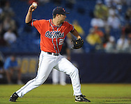 Ole Miss' Trent Rothlin throws to second for a force on a bunt vs. Auburn during the Southeastern Conference tournament at Regions Park in Hoover, Ala. on Friday, May 28, 2010.  (AP Photo/Oxford Eagle, Bruce Newman)