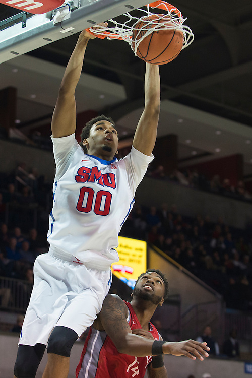 DALLAS, TX - DECEMBER 16: Ben Moore #00 of the SMU Mustangs dunks the ball against the Nicholls State Colonels on December 16, 2015 at Moody Coliseum in Dallas, Texas.  (Photo by Cooper Neill/Getty Images) *** Local Caption *** Ben Moore