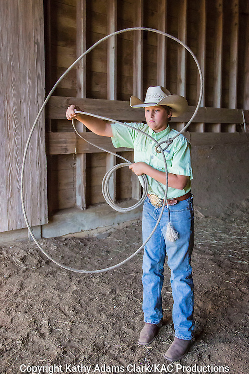 Colby McDonald demonstrating rope tricks at Warren Ranch on Katy Prairie Conservancy; Katy; Texas