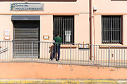 visitor at the closed tax office during the Covid 19 crisis and lockdown France Limoux April 2020