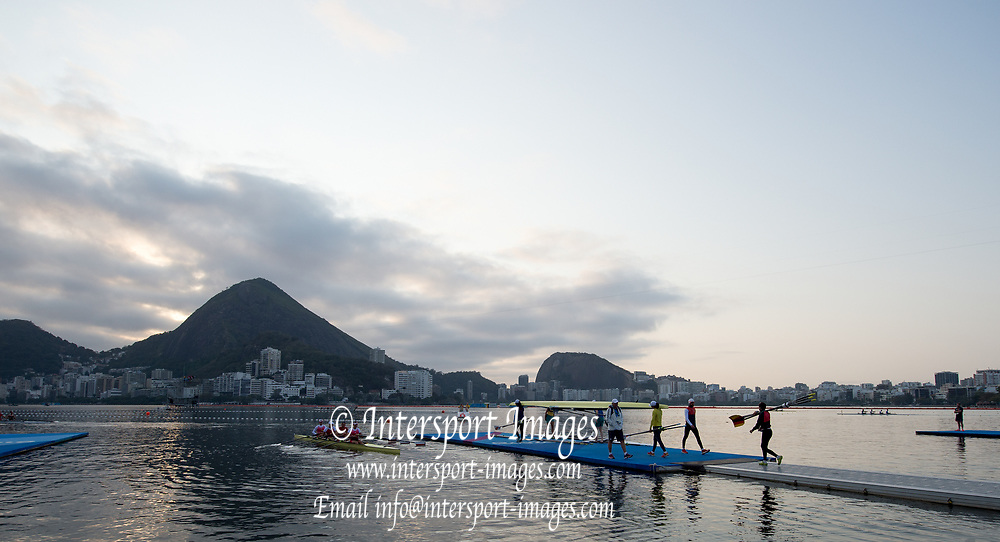 Rio de Janeiro. BRAZIL    Boating  General view of the boat park.and across the course.  2016 Olympic Rowing Regatta. Lagoa Stadium,<br /> Copacabana,  &ldquo;Olympic Summer Games&rdquo;<br /> Rodrigo de Freitas Lagoon, Lagoa. Local Time 07:07:44  Tuesday  09/08/2016<br /> [Mandatory Credit; Peter SPURRIER/Intersport Images]