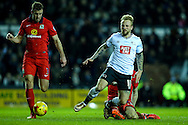 Johnny Russell of Derby County (right) goes down in the penalty area but no foul is given during the Sky Bet Championship match at the iPro Stadium, Derby<br /> Picture by Andy Kearns/Focus Images Ltd 0781 864 4264<br /> 24/02/2016