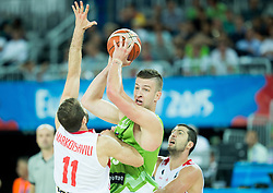 Alen Omic of Slovenia between Manuchar Markoishvili of Georgia and George Tsintsadze of Georgia during basketball match between Slovenia and Georgia at Day 2 in Group C of FIBA Europe Eurobasket 2015, on September 6, 2015, in Arena Zagreb, Croatia. Photo by Vid Ponikvar / Sportida