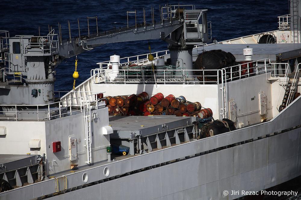 INDIAN OCEAN 11MAY13 - Reefer vessel 'Sierra Laurel', registered in Port Louis, Mauritius during transit in the Indian Ocean.<br /> <br /> jre/Photo by Jiri Rezac / Greenpeace