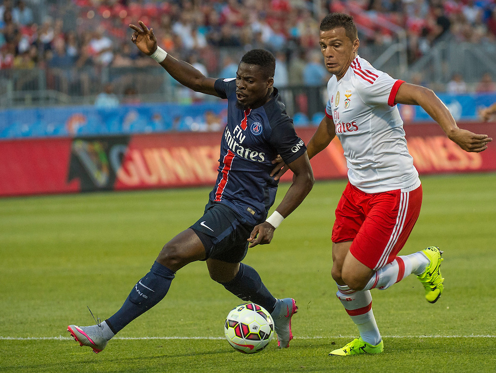 Paris St. Germain's Lima (left) and SL Benfica's Serge Aurier in the International Champions Cup in Toronto.
