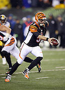 Cincinnati Bengals quarterback AJ McCarron (5) hands off the ball on a running play during the NFL AFC Wild Card playoff football game against the Pittsburgh Steelers on Saturday, Jan. 9, 2016 in Cincinnati. The Steelers won the game 18-16. (©Paul Anthony Spinelli)