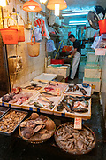 Sea food for sale at Wan Chai Road, Hong Kong, China.