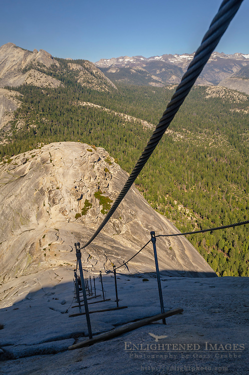 Looking down over the Cables section from near the top of Half Dome, Yosemite National Park, California