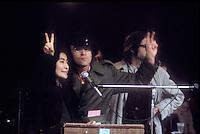 John Lennon and Yoko Ono at an anti Vietnam War rally in New York City, 1971
