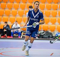 ROTTERDAM -  Marlon Landbrug (Pinoke) heeft gescoord, heren Pinoke-Venlo  ,hoofdklasse competitie  zaalhockey.   COPYRIGHT  KOEN SUYK