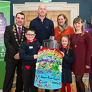 07/03/2019<br /> 3rd place winners of the 3rd and 4th class category are 3rd class students MJ O'Neill and Hazel Brassil from St Brigid's NS along with teacher Emma O'Connor, Mayor of Limerick City and County, Cllr James Collins, Paul O'Connell, Helen O'Donnell and JP McManus at the 'Design a TLC Bottle' prizegiving at the Hunt Museum, Limerick. Over 50 primary schools across the county entered ahead of Team Limerick Clean-Up 5, which will see thousands of volunteers take to the streets of Limerick city and county for Europe's largest one-day clean up. Sponsored by the JP McManus Benevolent Fund, the event has seen over 360 tonnes of litter gathered from the streets since inception in 2015. Over 14,000 volunteers have already signed up for the 2019 event, taking place on Good Friday, 19th April. <br /> Photo by Diarmuid Greene