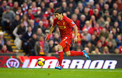 LIVERPOOL, ENGLAND - Saturday, December 7, 2013: Liverpool's Luis Suarez in action against West Ham United during the Premiership match at Anfield. (Pic by David Rawcliffe/Propaganda)