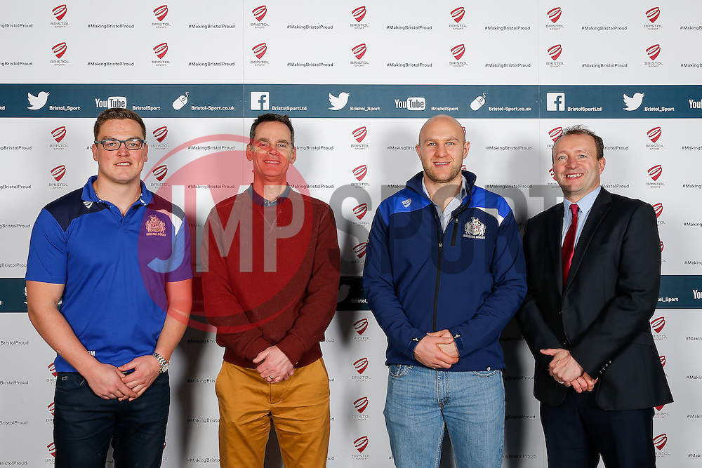 Gareth Maule and Josh Ovens of Bristol Rugby pose during the Player Sponsors' Dinner in the Heineken Lounge at Ashton Gate - Mandatory byline: Rogan Thomson/JMP - 08/02/2016 - RUGBY UNION - Ashton Gate Stadium - Bristol, England - Bristol Rugby Player Sponsors' Dinner.