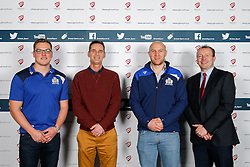 Gareth Maule and Josh Ovens of Bristol Rugby pose during the Player Sponsors' Dinner in the Heineken Lounge at Ashton Gate - Mandatory byline: Rogan Thomson/JMP - 08/02/2016 - RUGBY UNION - Ashton Gate Stadium - Bristol, England - Bristol Rugby Player Sponsors' Dinner.