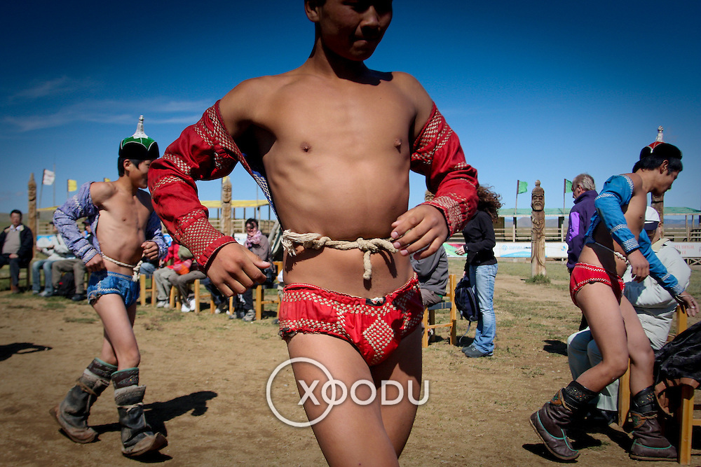 Young Mongolian wrestlers in costume (, Mongolia - Aug. 2008) (Image ID: 080830-0933501a)