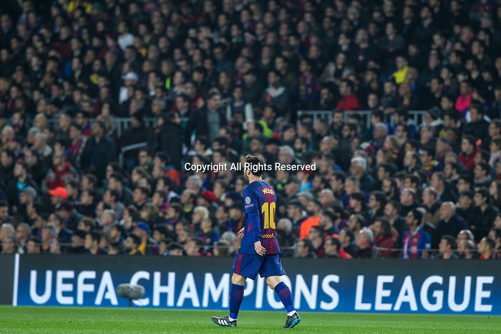 14th March 2018, Camp Nou, Barcelona, Spain; UEFA Champions League football, round of 16, 2nd leg, FC Barcelona versus Chelsea; Lionel Messi, #10 of Barcelona during UEFA Champions League match