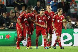 01.05.2013, Camp Nou, Barcelona, ESP, UEFA CL, FC Barcelona vs FC Bayern Muenchen, Halbfinale, Rueckspiel, im Bild Torjubel von links Jerome BOATENG #17 (FC Bayern Muenchen), David ALABA #27 (FC Bayern Muenchen), Franck RIBERY #7 (FC Bayern Muenchen), Franck RIBERY #7 (FC Bayern Muenchen), Thomas MUELLER #25 (FC Bayern Muenchen) und Philipp LAHM #21 (FC Bayern Muenchen), // during the UEFA Champions League 2nd Leg Semifinal Match between Barcelona FC and FC Bayern Munich at the Camp Nou, Barcelona, Spain on 2013/05/01. EXPA Pictures © 2013, PhotoCredit: EXPA/ Eibner/ Christian Kolbert..***** ATTENTION - OUT OF GER *****