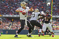 06 October 2013: Quarterback (9) Drew Brees of the New Orleans Saints passes the ball against the Chicago Bears during the first half of the Saints 26-18 victory over the Bears in an NFL Game at Soldier Field in Chicago, IL.