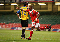Photo: Rich Eaton.<br /> <br /> Wales v Cyprus. UEFA European Championships 2008 Qualifying. 11/10/2006. Robert Earnshaw of Wales celebrates his first half goal