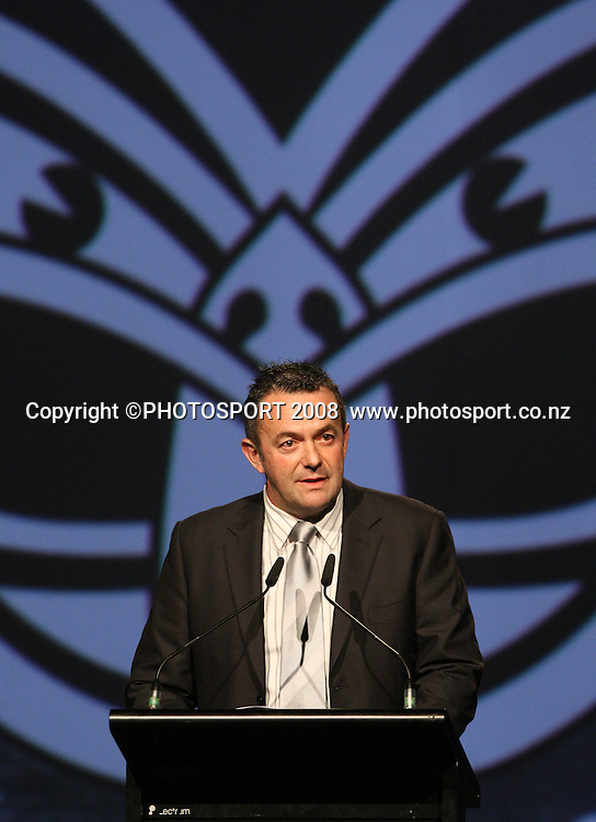 Vodafone Warriors CEO Wayne Scurrah. Vodafone Warrior's annual awards, Sky City Convention Centre, Auckland. 16 September 2008. Photo: Andrew Cornaga/PHOTOSPORT