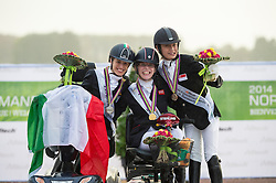 Podium Individual Competition Grade Ia 1. Sophie Christiansen and Janeiro 6, 2. Sara Morganti and Royal Delight 3. Laurentina Yen Yi Tan - Alltech FEI World Equestrian Games™ 2014 - Normandy, France.<br /> © Hippo Foto Team - Jon Stroud <br /> 25/06/14