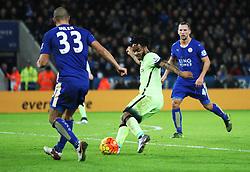 Raheem Sterling of Manchester City (C) has a shot at goal  - Mandatory byline: Jack Phillips/JMP - 07966386802 - 29/12/2015 - SPORT - FOOTBALL - Leicester - King Power Stadium - Leicester City v Manchester City - Barclays Premier League