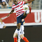 May 26 2012: USA's Maurice Edu (7) leaps into the air to kick the ball during the first half of play of the U.S. Men's National Soccer Team game against Scotland at Everbank Field in Jacksonville, FL. At halftime USA lead Scotland 2-1.