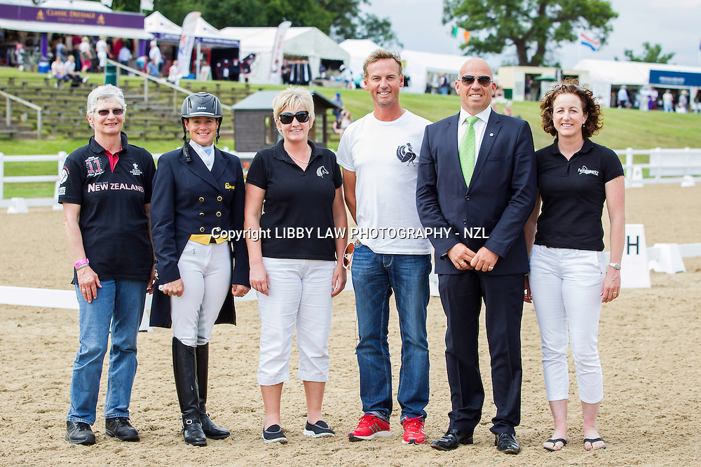 (L-R) Andrea Raves; Vanessa Way; Sarah Harris; Carl Hester; Peter Storr; Shiwon Green: 2014 GBR-Hartpury Festival Of Dressage:  (Saturday 12 July) CREDIT: Libby Law COPYRIGHT: LIBBY LAW PHOTOGRAPHY - NZL
