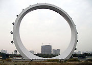 """CHANGZHOU, CHINA - NOVEMBER 24:  China Out - Finland out<br />  <br /> World's Largest """"Spokeless"""" Ferris Wheel<br /> <br /> A general view of a 89m tall spokeless ferris wheel, with cost of 150 million yuan (about 23 million USD), at Redbud Park on November 24, 2013 in Changzhou, Jiangsu Province of China. The world's largest and China's first spokeless ferris wheel, which did not install the spoke-type cable in the wheel, will be put into operation in June this year. <br /> ©Exclusivepix"""