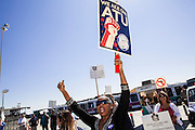 10 MARCH 2012 - PHOENIX, AZ:    Bus drivers with Veola Transportation Services, who contract with Valley Metro, the mass transit agency in the Phoenix, AZ, area, walk a picket line Saturday. More than 600 Phoenix bus drivers, employed by Veola Transportation Services, are on strike after negotiations broke down. Drivers from Amalgamated Transit Union Local 1433 have been negotiating for more than two years with Veola. The dispute centers around wage and benefits like sick leave accrual, retirement benefits, and health care coverage. Drivers started walking their picket line early Saturday morning, March 10.   PHOTO BY JACK KURTZ