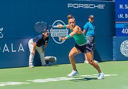 August 5, 2018 - San Jose, CA, U.S. - SAN JOSE, CA - AUGUST 05: Maria Sakkari (GRE) crosses the backcourt in pursuit of the ball during the WTA Singles Championship at the Mubadala Silicon Valley Classic  at the San Jose State University Stadium Court in San Jose, CA  on Sunday, August 5, 2018. (Photo by Douglas Stringer/Icon Sportswire) (Credit Image: © Douglas Stringer/Icon SMI via ZUMA Press)