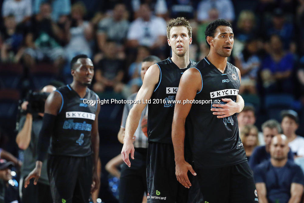 Mika Vukona of the Breakers reacts to a call as teammate Tom Abercrombie tries to hold him back. 2015/16 ANBL, SkyCity Breakers vs Townsville Crocodiles, Vector Arena, Auckland, New Zealand. 29 January 2016. Photo: Anthony Au-Yeung / www.photosport.nz