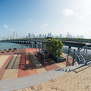 The new but controversial Cinta Costera III (Coastal Beltway) that runs around Casco Viejo on the waterfront of Panama City, Panama, on Panama Bay.