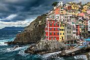 Charming architecture in the village of Riomaggiore, Cinque Terre,  Liguria, Italy.