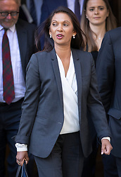© Licensed to London News Pictures. 19/09/2019. London, UK. Campaigner and business woman Gina Miller (C) leaves The Supreme Court in London where the last day of a three day appeal was heard in connection with Prime Minister Boris Johnson's suspension of Parliament. Photo credit: Peter Macdiarmid/LNP