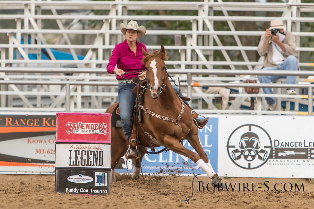 Madison Owens makes her barrel racing run during slack at the Elizabeth Stampede on Sunday, June 3, 2018.