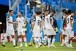 June 22, 2018 - Sankt Petersburg, Russia - 180622 The players of Costa Rica look dejected after the FIFA World Cup group stage match between Brazil and Costa Rica on June 22, 2018 in Sankt Petersburg..Photo: Petter Arvidson / BILDBYRÃ…N / kod PA / 92075 (Credit Image: © Petter Arvidson/Bildbyran via ZUMA Press)