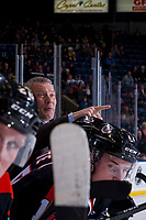 KELOWNA, CANADA - JANUARY 30: Medicine Hat Tigers' head coach Shaun Clouston stands at the boards and calls for referees to review a play against the Kelowna Rockets on January 30, 2017 at Prospera Place in Kelowna, British Columbia, Canada.  (Photo by Marissa Baecker/Shoot the Breeze)  *** Local Caption ***