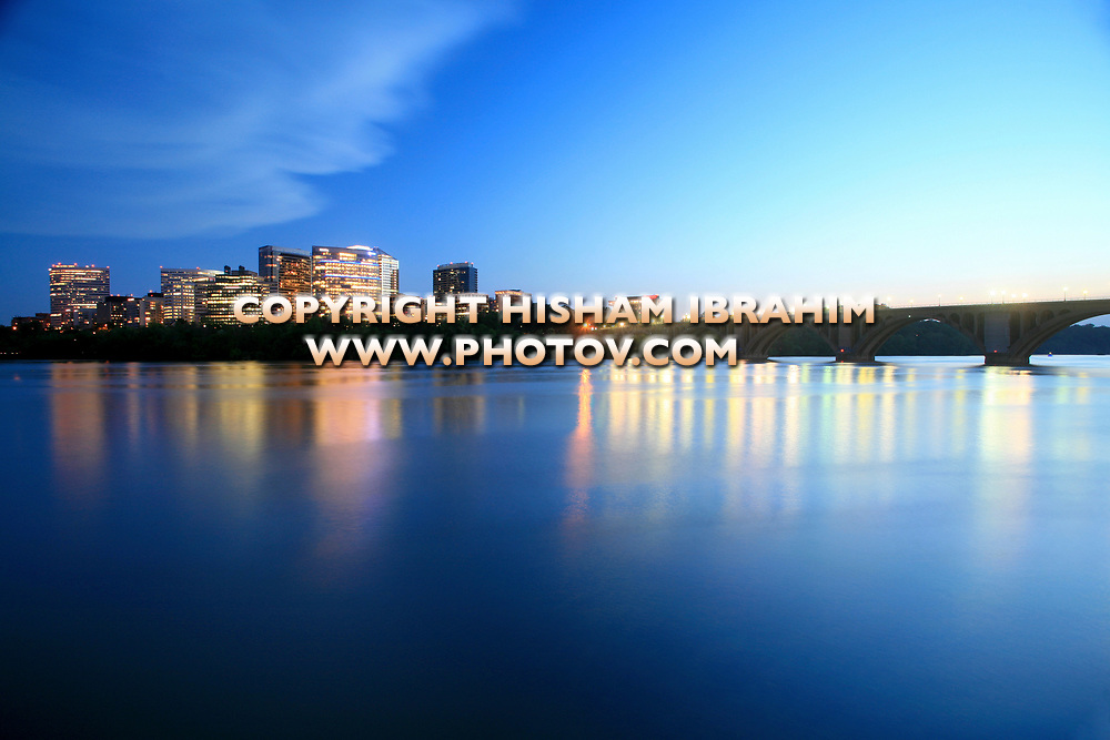 The Skyline of Rosslyn in Arlington County, Key Bridge and the Potomac River at Dusk, Virginia, USA