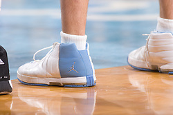 28 December 2006: The shoes of North Carolina Tarheel forward (50) Tyler Hansbrough during a 87-48 Rutgers Scarlet Knights loss to the North Carolina Tarheels, in the Dean Smith Center in Chapel Hill, NC.<br />