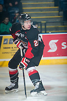 KELOWNA, CANADA - FEBRUARY 9: Jared Bethune #21 of Prince George Cougars looks for the pass against the Kelowna Rockets on February 9, 2015 at Prospera Place in Kelowna, British Columbia, Canada.  (Photo by Marissa Baecker/Shoot the Breeze)  *** Local Caption *** Jared Bethune;