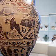A Greek terracotta neck-amphora (storage jar) from the 7th century BC at the Metropolitan Museum of Art in New York, New York.