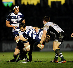 Bristol replacement (#16) Rhys Lawrence is tackled by Nottingham Winger (#14) Alex Lewington  - Photo mandatory by-line: Dougie Allward/JMP - Tel: Mobile: 07966 386802 08/03/2013 - SPORT - RUGBY - Memorial Stadium - Bristol. Bristol v Nottingham - RFU Championship.