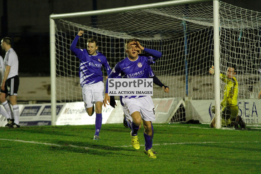 Cowdenbeath FC V Ayr United FC, Tuesday 29th December 2015, Central Park, CowdenbeathCowdenbeath FC V Ayr United FC, Tuesday 29th December 2015, Central Park, Cowdenbeath<br /> <br /> COWDENBEATH #6 DEAN BRETT CELEBRATES HIS GOAL WITH HIS UNIQUE STYLE