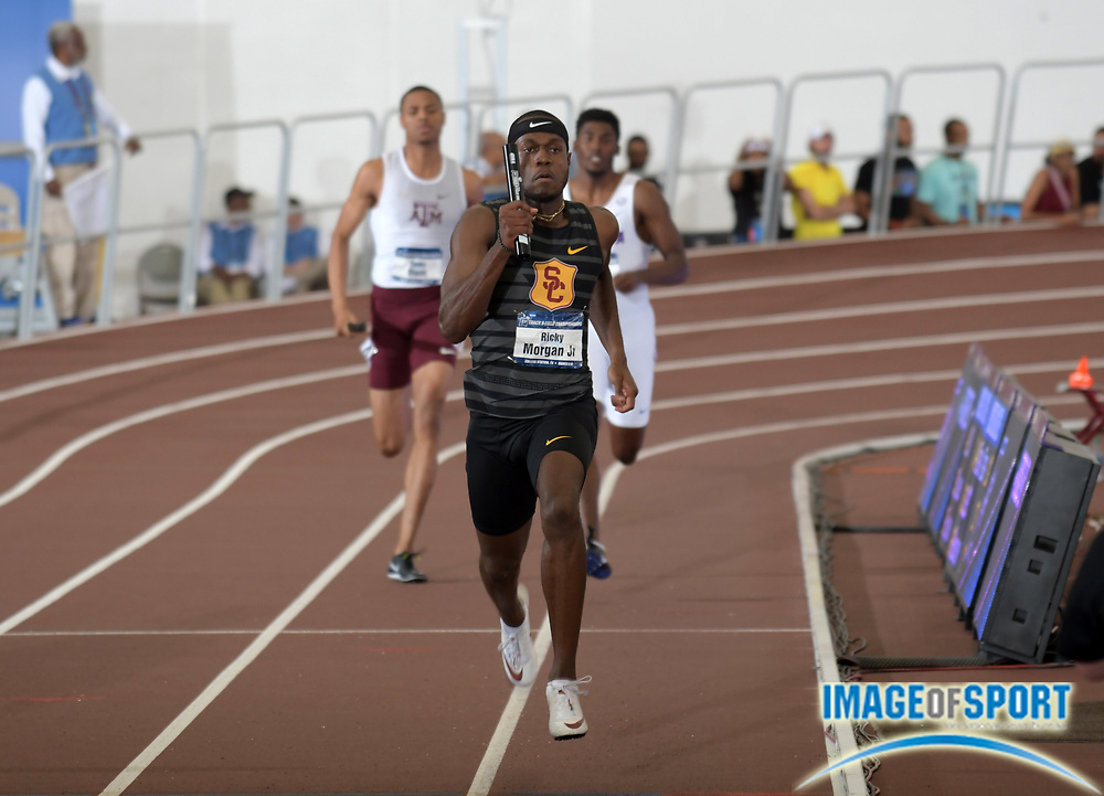 Mar 10, 2018; College Station, TX, USA; Ricky Morgan Jr. of Southern California 4 x 400m relay that won in a world-record 3:00.77 during the NCAA Indoor Track and Field Championships at the McFerrin Athletic Center.