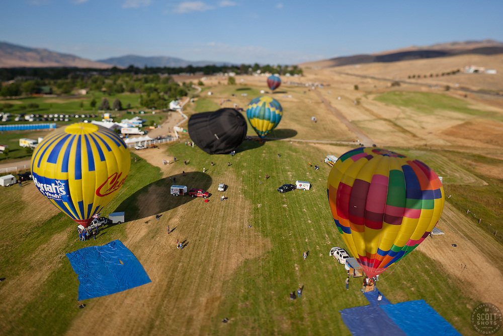 """""""Great Reno Balloon Race 2"""" - The 2011 Great Reno Balloon Race balloons photographed from a hot air balloon. A tilt-shift lens was used to achieve the """"toy"""" like look."""