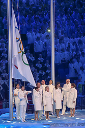 The XXII Winter Olympic Games 2014 in Sotchi, Olympics, Olympische Winterspiele Sotschi 2014<br /> Opening ceremony, <br /> Olympic flag