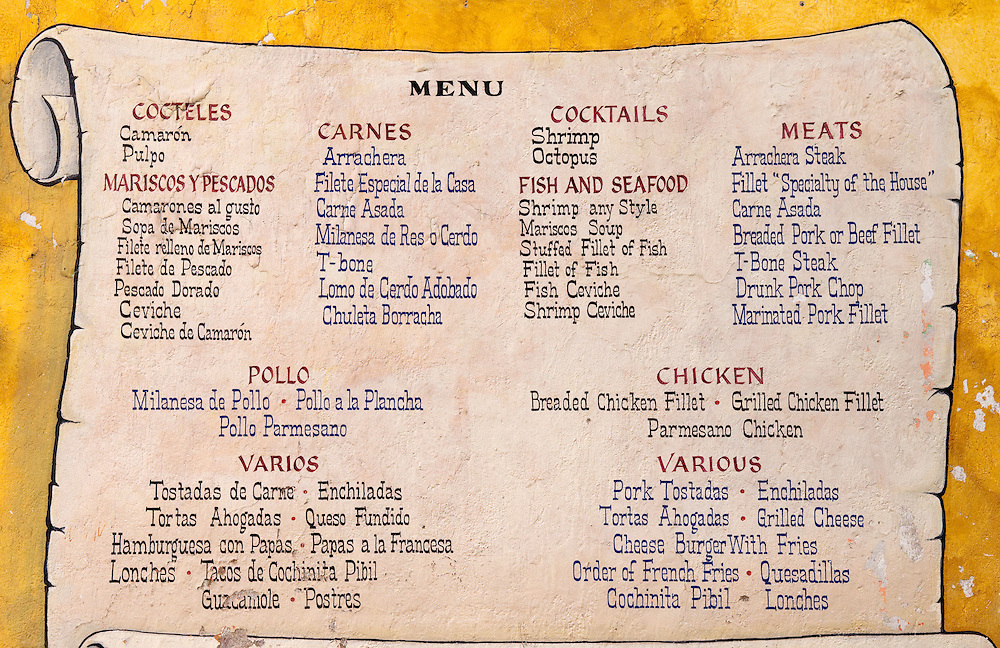 Spanish-English menu at Mexican restaurant. | Greg Vaughn Photography