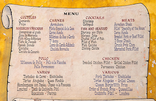 Menu In Spanish And English On Wall At El Patio Restaurant In Lake Chapala,  Jalisco.